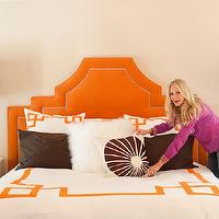 Marmalade Interiors - bathrooms - greek key shams, white and orange shams, orange headboard, orange velvet headboard, orange and brown bedding, greek key bedding, greek key duvet, orange greek key duvet,