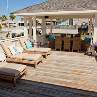 Munger Interiors - decks/patios - teak, outdoor, lounge, chaise, white, rope, garden, stools, turquoise, blue, pillows, woven, chairs, lanterns,