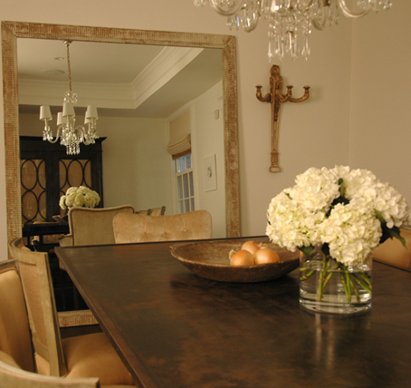 Suzie:  Paul Corrie  Chic dining room design with gray walls paint color, floor mirror, rustic ...