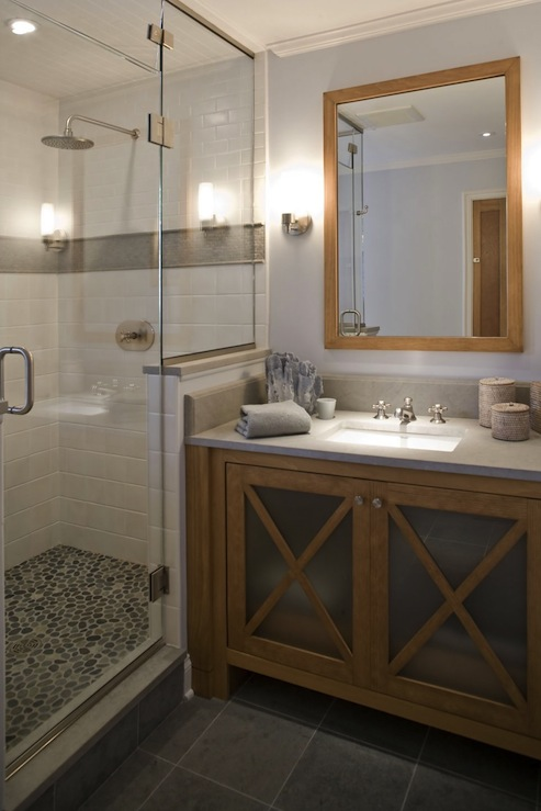 Pebble Shower Floor Contemporary Bathroom