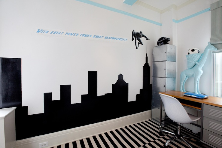 Lily Z Design - boy's rooms - Ikea, Stockholm rand, striped, rug, city, skyline, silhouette, walls, white, plastic, office chair, lockers, desk, gray, striped, roman shade,