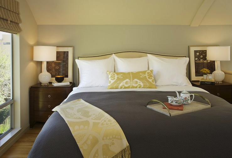 Yellow Ikat Pillow, Transitional, bedroom, Laura Martin Bovard Interiors