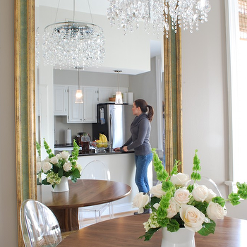 Mirror in Dining Room, Transitional, dining room, Benjamin Moore Ashley Gray, Megan Blake Design