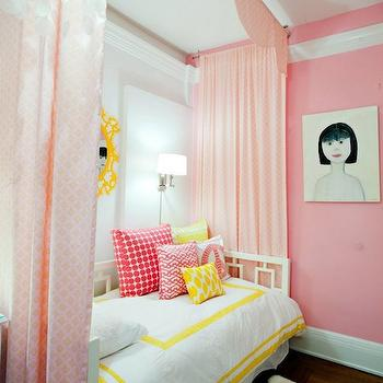 Lily Z Design - girl's rooms - window daybed, white window daybed, polished nickel wall sconces, pink girls room, pink girls bedroom, west elm daybed, white daybed, windows daybed, white windows daybed, bed draperies, bed panels, bed curtains, bed drapes, pink panels, pink curtains, pink drapery, pink bed panels, pink bed drapes, pink girls room, big girls room, big girls room ideas, West Elm Window Daybed,
