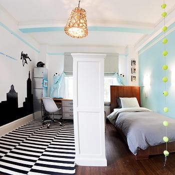 Lily Z Design - boy's rooms - room partition, kids room partition, room partition ideas, black and white rug, striped rug, black and white striped rug, Birds Nest Hanging Lamp,