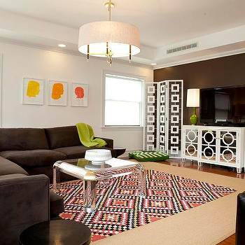 Lily Z Design - living rooms - jonathan adler chandelier, green dining chairs, brown velvet sectional, brown sectional, dark brown sectional, lucite coffee, kite kilim rug, kilim rug, mirrored cabinet, white mirrored cabinet, floor screen, white floor screen, chain link floor screen, white chain link floor screen, desmond floor screen, , Jonathan Adler Single Tier Chandelier, Jonathan Adler Desmond Screen, Worlds Away 3 Piece Mirrored Buffet, Jonathan Adler Capri Lamp,