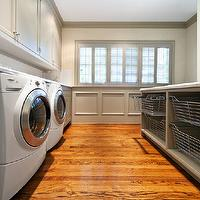 More Design Build - laundry/mud rooms - laundry room, laundry room ideas, laundry room design, laundry room island, metal baskets, wainscoting, laundry room wainscoting, wainscoting in laundry room, gray wainscoting, gray cabinets, gray laundry room cabinets, laundry room cabinets,