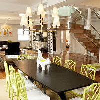 Lily Z Design - dining rooms - modern, espresso, dining table, bamboo chairs, green bamboo chair, faux bamboo chair, green faux bamboo chairs, Jonathan Adler Horse Tray, Jonathan Adler Chippendale Chair, Jonathan Adler Ventana 2 Tier Chandelier, Jonathan Adler Desmond Screen, Jonathan Adler Single Tier Chandelier,