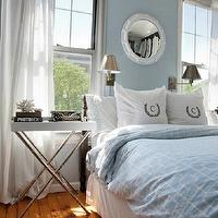 Lily Z Design - bedrooms - blue, walls, white, porthole, mirror, blue, geometric, bedding, monogrammed, pillows, tray, table, nightstand, polished nickel, faux bamboo, base, wall sconces, porthole mirror, white porthole mirror, Jonathan Adler Meurice Butler Tray Table,
