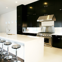 Marie Flanigan Interiors - kitchens - ebony, modern, kitchen cabinets, white, modern, kitchen island, stainless steel, swivel, counterstools, quartz, countertops, black and white kitchen,