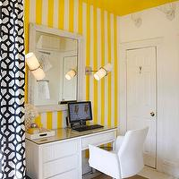 Lily Z Design - dens/libraries/offices - white, yellow, vertical, stripes, walls, white, desk, white, chair, drum, pendant, white, black, geometric, drapes, black and white curtains, black and white drapes, black and white window panels, black and white drapery,