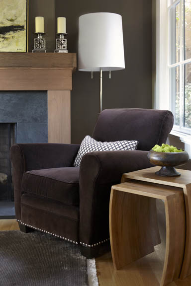 living rooms - Benjamin Moore - Woodcliff Lake - Velvet Chair, Mohair Chair, Club Chair, Redwood Mantel, Brazilian Black Slate Surround, Nesting Tables, Telescoping Tables, Wood Bowl, Chrome Floor Lamp, Buster Floor Lamp, Chrome Candle Holder, Silk Rug, French Window, French Windows, Ranch House, Ranch Home, California Ranch, Living Room, Living Rooms,