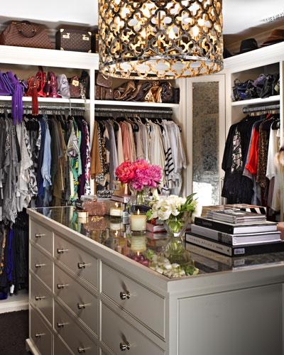 InStyle Magazine - closets - Ironies Asilah Chandelier, khloe kardashian, khloe kardashian closet, quatrefoil chandelier, gold quatrefoil chandelier, quatrefoil drum pendant, closet island,