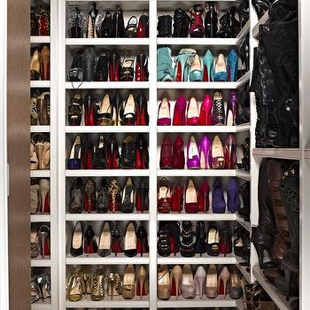 InStyle Magazine - closets - shoe cabinet, shoe cabinets, shoe shelves, shelves for shoes, shoe storage, shoe closet, closet shoe shelves, shoe racks, closet shoe racks, khloe kardashian, khloe kardashian closet,