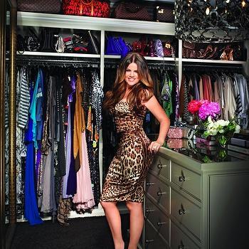 InStyle Magazine - closets - khloe kardashian, khloe kardashian closet, quatrefoil chandelier, gold quatrefoil chandelier, quatrefoil drum pendant, closet island, closet chandelier, chandelier in closet, Ironies Asilah Chandelier,
