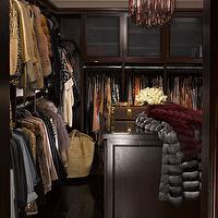 InStyle Magazine - closets - Kim Kardashian, kim kardashian closet, espresso cabinets, espresso built ins, espresso, espresso built in cabinets, purple chandelier, purple glass chandelier, closet island, espresso closet island, closet chandelier, Venini Purple & Clear Tubular Glass Chandelier,