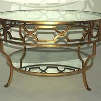 Tables - Tables and such... / Treillage Round Gold Leaf Mirrored Coffee Table - hollywood regency coffee table