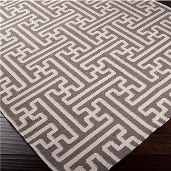Rugs - Grecian Maze Dhurrie Rug: 9 Colors - Shades of Light - grecian, maze, gray, dhurrie, rug