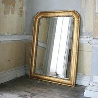 Mirrors - Over Mantle Mirror - antique finish, beaded, mirror