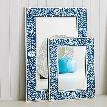 Mirrors - Blue Floral Bone Inlay Mirror - blue, floral, bone, inlay, mirror