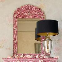Mirrors - Pink & Mother of Pearl Crown Mirror - pink, mother of pearl, mirror
