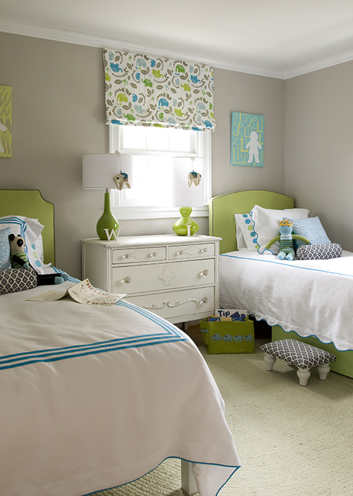 Finnian's Moon Interiors - girl's rooms - gray, walls, green, lamps, green, headboards, twin beds, white, hotel bedding, blue, stitching, white, black, geometric, bolster, pillows, stool, white, shabby chic, vintage, chest, green, rug, turquoise, blue, pillows, green, blue, gray, roman shade,