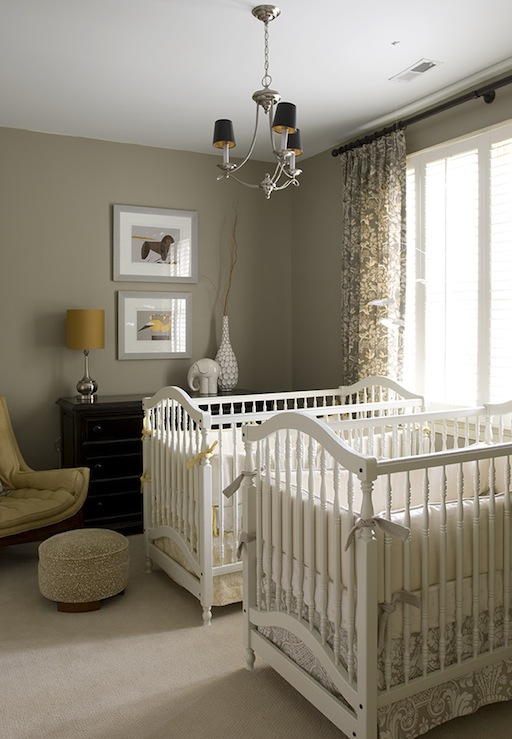 Finnian's Moon Interiors - nurseries - gray, walls, white, cribs, yellow, crib bedding, gray, crib bedding, gray, damask, drapes, black, chest, mustard, yellow, tufted, mid-century, modern, chair,