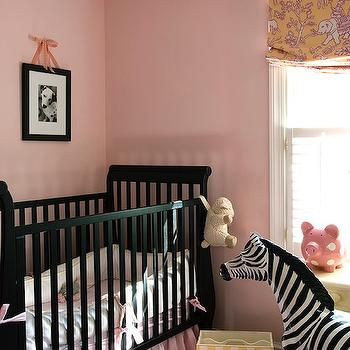 Finnian's Moon Interiors - nurseries - black crib, black nursery crib, pink and black nursery, girls nursery, girls nursery ideas, girls nursery design, pink crib skirt,