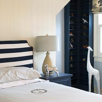 Finnian's Moon Interiors - boy's rooms - display cabinet, kids display cabinets, boys display cabinets, white and navy boys room, white and navy blue boys bedroom, striped headboard, white and navy blue headboard, blue nightstand, boys nightstand, kids nightstand,