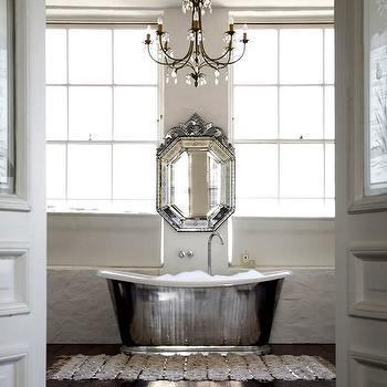 1st Option - bathrooms - waterworks tubs, waterworks bathtubs, venetian mirror, venetian mirror in bathroom, bathroom venetian mirror, mirror over tub, mirror above bathtub, chandelier over bathtub, Waterworks Candide Tub,