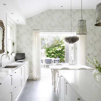 1st Option - kitchens - kitchen cabinets, mercury glass pendant, mercury glass chandelier, paisley wallpaper, kitchen wallpaper, wallpaper in kitchen, gray paisley wallpaper, farmhouse dining table, white dining table, white farmhouse table, white farmhouse dining table, , Cole & Son Rajapur Wallpaper,