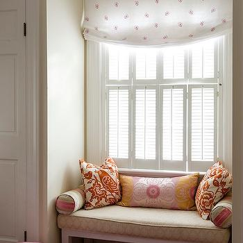 Finnian's Moon Interiors - girl's rooms - roman shade, kids window seat, girls window seat,  Adorable window seat in girl's room with white &