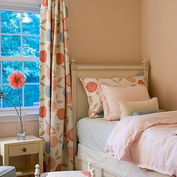Finnian's Moon Interiors - girl's rooms - french bed, french twin bed, twin french bed, pink bedding, ruffled bedding, pink ruffled bedding, floral curtains, floral drapes,