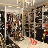 Jeneration Interiors - closets - brass, pendant, chandelier, pink, gray, zigzag, rug, black, tufted, velvet, Hollywood regency, brass, chairs,