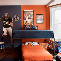 Alan Design Studio - boy's rooms - chicago bears boys room, chicago bears boys bedroom, football boys room, football boys bedroom, football themed boys room, football themed boys bedroom, orange and blue boys room, orange and navy blue boys room, two tone walls,