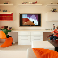 B and G Design - boy&#039;s rooms - orange, panton, chairs, chunky, floating, shelves, white, wall shelves, white, chunky, desk, white, file cabinets, orange, drapes, Tangerine Panton Chair,
