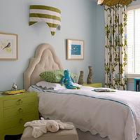 Finnian's Moon Interiors - girl's rooms - blue, walls, tan, velvet, tufted, headboard, green, David Hicks, La Fiorentina, pillow, white, scalloped, bedding, turquoise, blue, stitching, blue, green, floral, drapes, turquoise, blue, bookshelf, jamie young flowering lotus pendant, flowering lotus pendant, lotus pendant, lotus chandelier, brass lotus pendant, brass flowering lotus pendant, Bungalow 5 Jacqui 3 drawer Chest, Jamie Young, Co. Flowering Lotus Pendant,