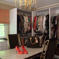 Jeneration Interiors - closets - black, velvet, tufted, Hollywood Regency, brass, chairs, pink, gray, zigzag, chevron, rug, brass, pendant, chandelier,