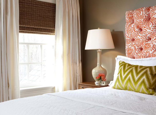 Orange Tufted Headboard Contemporary Bedroom Carey