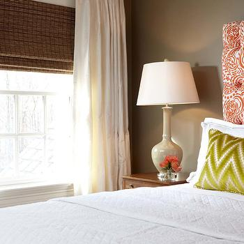 Carey Karlan - bedrooms - taupe bedrooms, taupe paint, taupe paint colors, taupe paint color, taupe walls, orange headboard, tufted headboard, orange tufted headboard, white and orange headboard, white and orange tufted headboard,