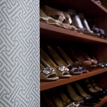 Armonia Decors - closets - built-ins, shoe closet, shelves for shoes, quadrille wallpaper, blue fretwork wallpaper, fretwork wallpaper, Quadrille China Seas Java Java Wallpaper,
