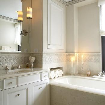 B Moore Design - bathrooms - ivory cabinets, ivory bathroom cabinets, ivory shaker cabinets, ivory shaker bathroom cabinets, monochromatic bathroom,