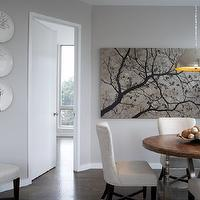 B Moore Design - dining rooms - cherry blossom art, decorative wall plates, white dining chairs, upholstered dining chairs,  Modern living room