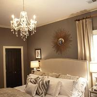 A Well Dressed Home - bedrooms - mirrored, nightstands, sunburst, mirror, gray, zebra, pillows, gray, walls, crystal chandelier, black, door, gray walls, grey walls, gray paint, grey paint, gray paint color, grey paint color, gray wall paint, grey wall paint, gray bedroom walls, grey bedroom walls, gray bedroom paint, grey bedroom paint, gray bedroom paint color, grey bedroom paint color, Crate & Barrel Colette Bed,