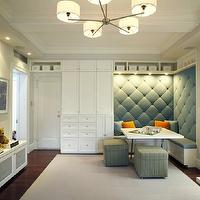 B Moore Design - living rooms - built-in, banquette, blue, tufted, cushions, white, built-ins, blue, green, striped, ottomans, orange, pillows, marble, fireplace, flatscreen tv, white, storage, bench, gray, walls, tufted banquette,