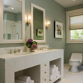 Coddington Design - bathrooms - sage green walls, sage green bathroom, sage green bathroom walls, modern bathroom vanity, double bathroom vanity, tiled vanity, tiled bathroom vanity,