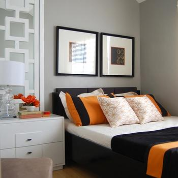 bedrooms - decorative panels, white decorative panels, chain link mirror,  Orange & Gray room  A bedroom painted with gray shades accentuated