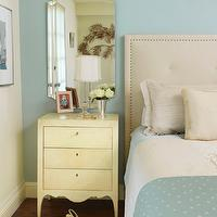 Coddington Design - bedrooms - blue, headboard, bedroom, cream, mirror, rug, girly, modern, antique, French, Swedish, mid-century, art, ann hall,