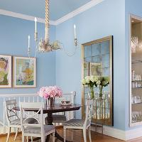 Coddington Design - dining rooms - swedish chairs, swedish dining chairs, rope chandelier, antiqued floor mirror,  A girly modern showcase of