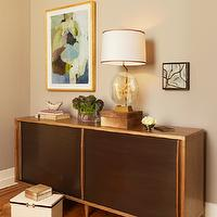 Coddington Design - dens/libraries/offices - mid century modern cabinet, mid century modern credenza,  A girly modern showcase of Swedish and